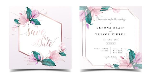 Bruiloft uitnodiging kaartsjabloon met florale aquarel decoratie Premium Vector