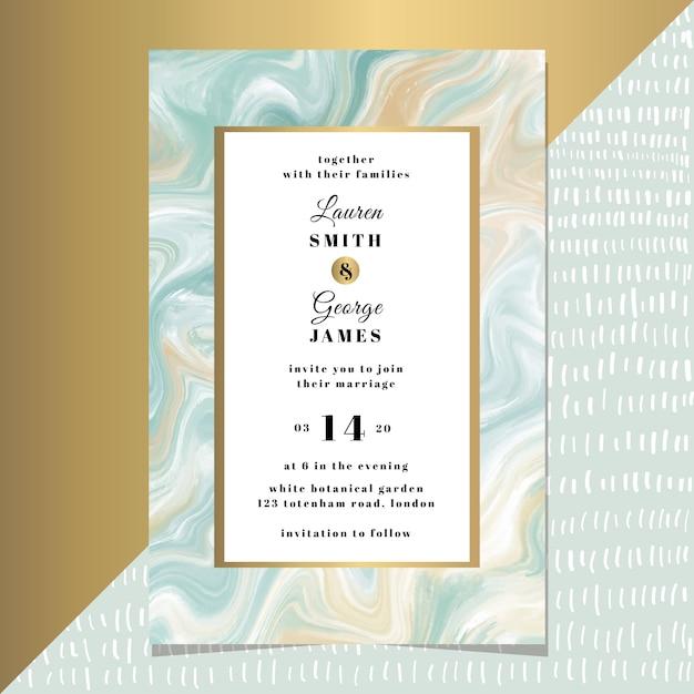 Bruiloft uitnodiging kaartsjabloon met geel blauw marmer Premium Vector