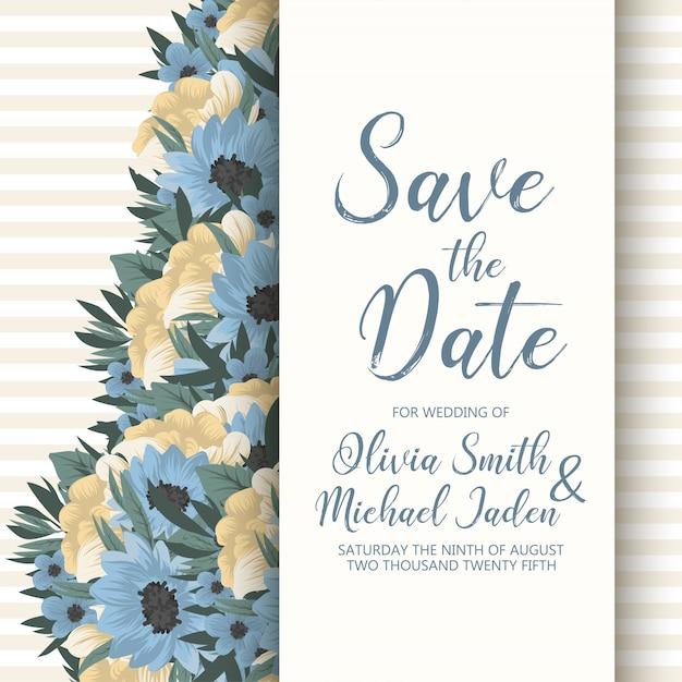 Bruiloft uitnodiging kaartsjabloon met kleurrijke bloemen Gratis Vector