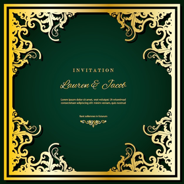 Bruiloft uitnodiging kaartsjabloon met lasersnijden frame. Premium Vector