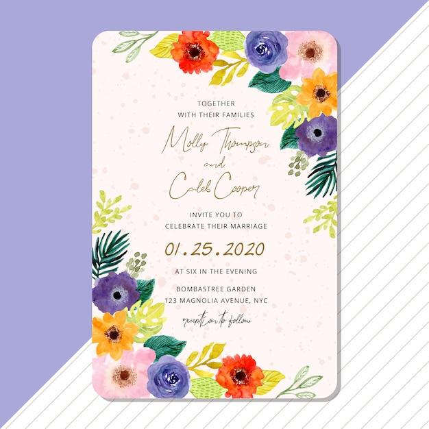 Bruiloft uitnodiging kaartsjabloon met tropische aquarel bloemen frame Premium Vector