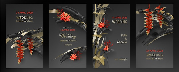 Bruiloft uitnodiging kaartsjabloon met tropische zwarte en gouden bladeren Gratis Vector