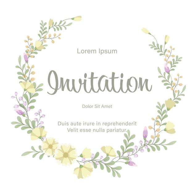 Bruiloft uitnodiging kaartsjabloon met verse bloemen krans Premium Vector