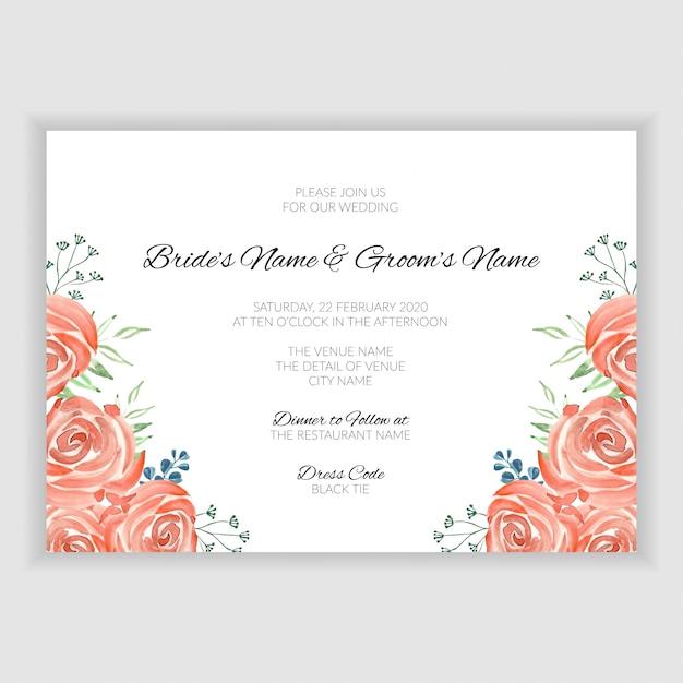 Bruiloft uitnodiging kaartsjabloon met vintage aquarel roos boeket Premium Vector