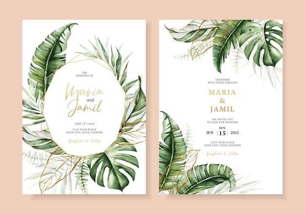 Bruiloft uitnodiging kaartsjabloon ontwerp met tropische bladeren decoratie instellen Premium Vector