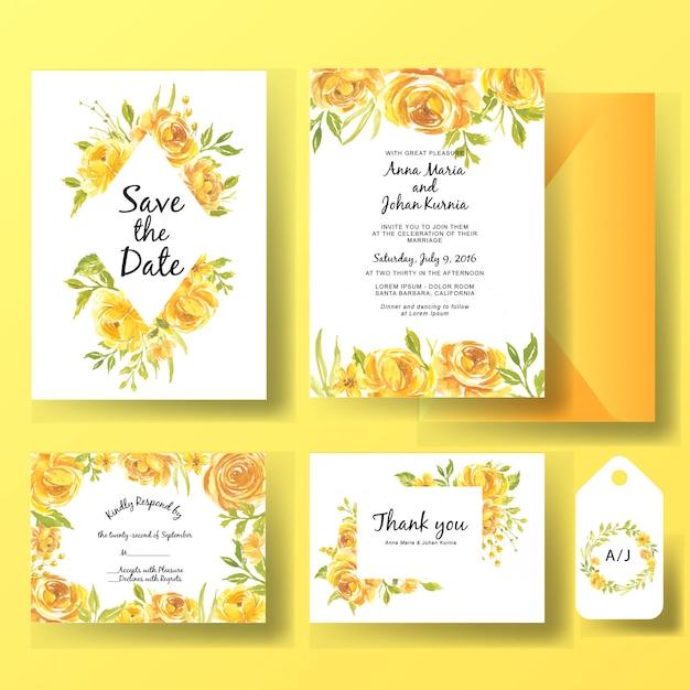 Bruiloft uitnodiging kaartsjabloon set aquarel bloem rose geel Premium Vector