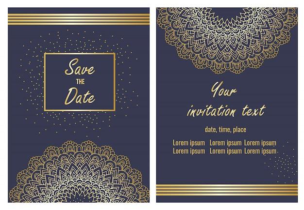 Bruiloft uitnodiging kaartsjabloon set Premium Vector