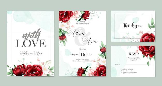 Bruiloft uitnodiging kaartsjabloon Premium Vector