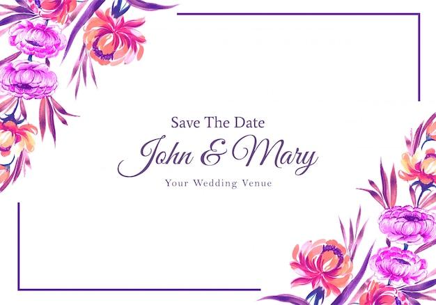 Bruiloft uitnodiging kleurrijke bloemen frame kaart Gratis Vector