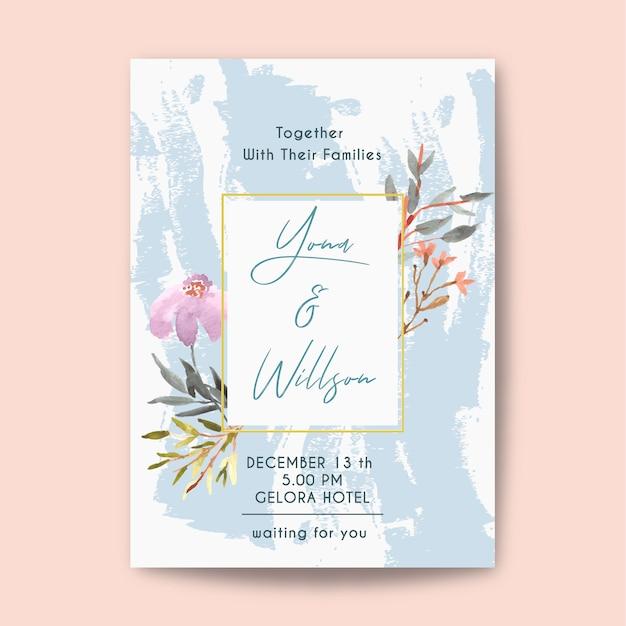 Bruiloft uitnodiging met bloemen aquarel en stalen borstel Premium Vector