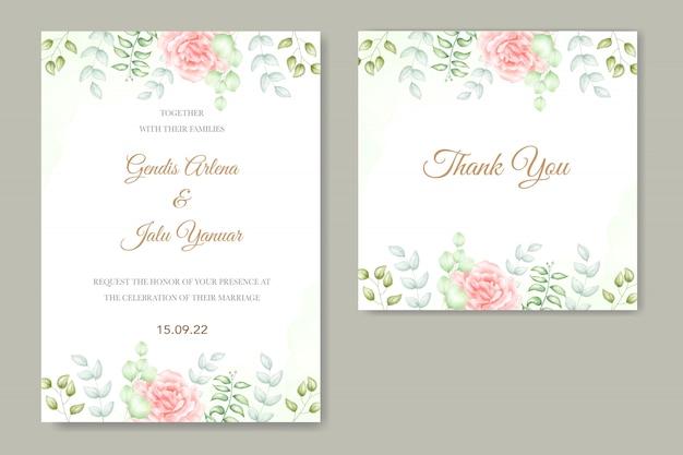Bruiloft uitnodiging met bloemen aquarel Premium Vector