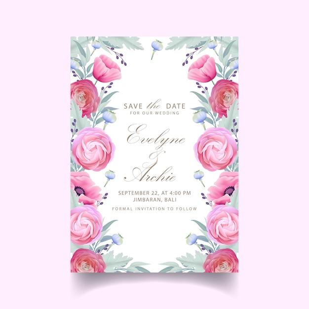 Bruiloft uitnodiging met bloemen ranunculus en poppy bloemen Premium Vector