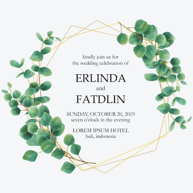 Bruiloft uitnodiging met eucalyptus blad aquarel frames Premium Vector