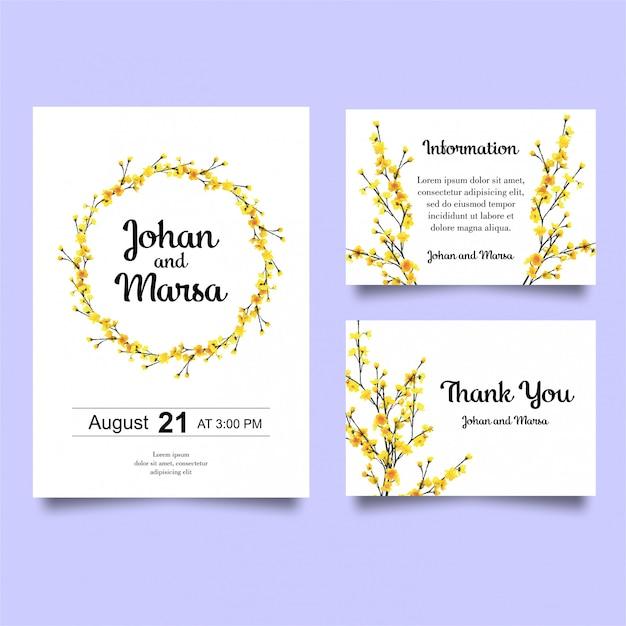 Bruiloft uitnodiging met gele bloemen Premium Vector