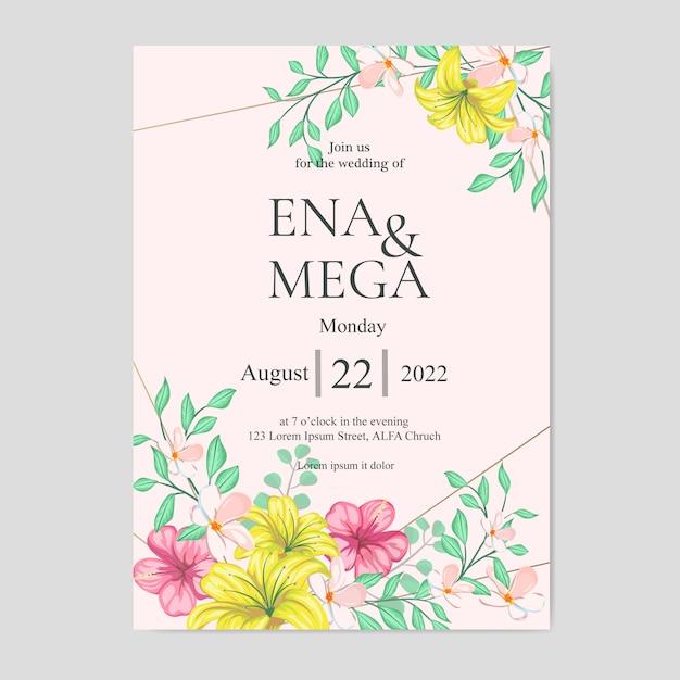 Bruiloft uitnodiging met mooie gele bloemen en bladeren Premium Vector