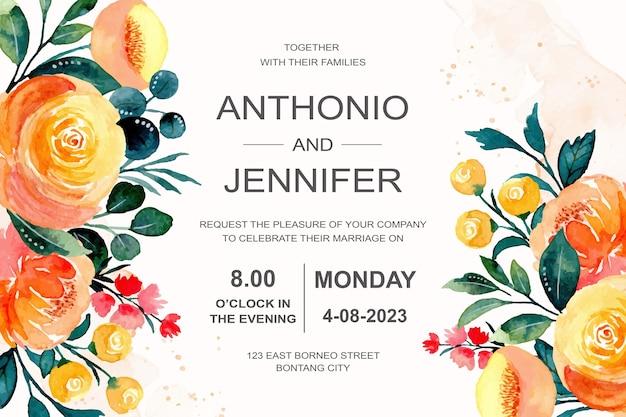 Bruiloft uitnodiging met oranje bloemenwaterverf Premium Vector