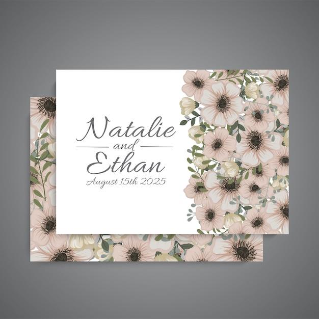 Bruiloft uitnodiging met schattige bloemen Gratis Vector