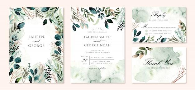 Bruiloft uitnodiging set met groen gebladerte takken aquarel Premium Vector