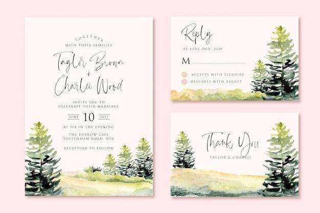 Bruiloft uitnodiging set met groene landschap heuvel en boom aquarel Premium Vector