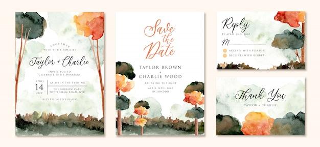 Bruiloft uitnodiging set met herfst boom landschap aquarel Premium Vector