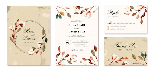 Bruiloft uitnodiging set met katoenen bloemen Premium Vector