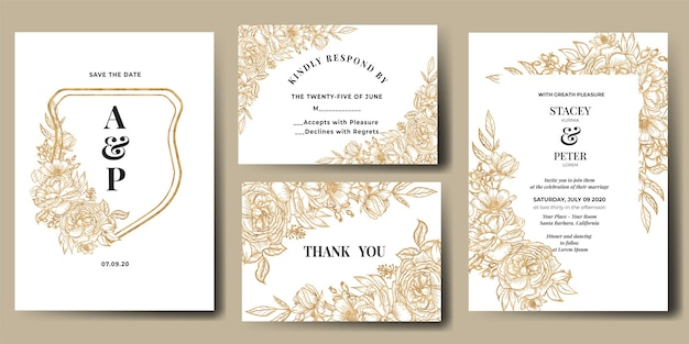 Bruiloft uitnodiging set met lijntekeningen bloem goud Gratis Vector