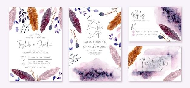 Bruiloft uitnodiging set met rustieke paarse veren en bladeren aquarel Premium Vector