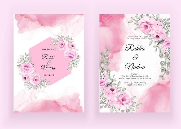 Bruiloft uitnodiging set van roze roze Gratis Vector