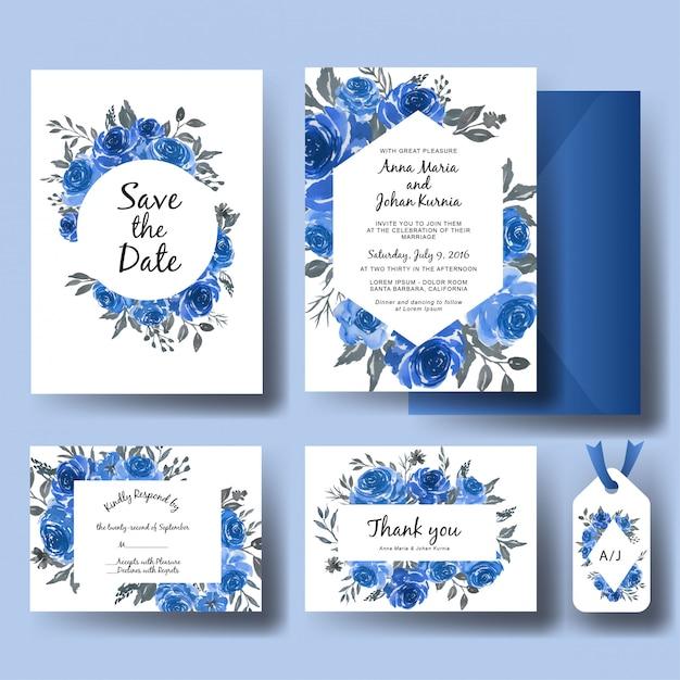 Bruiloft uitnodiging set van zoete aquarel bloemen blauwe sjabloon Premium Vector