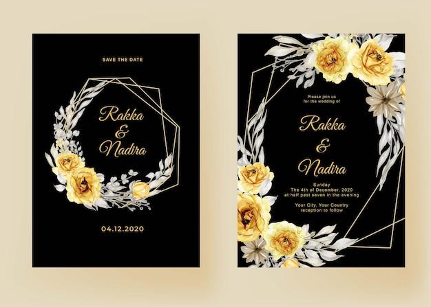 Bruiloft uitnodiging set zonnebloem aquarel frame Premium Vector
