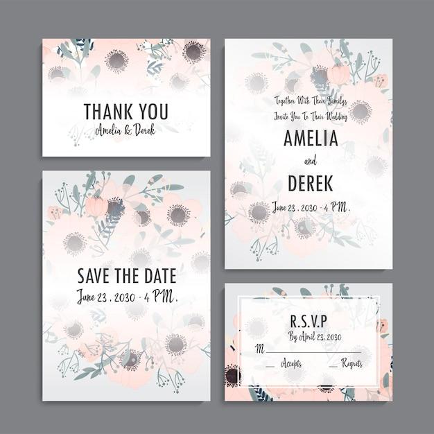 Bruiloft uitnodiging set Premium Vector