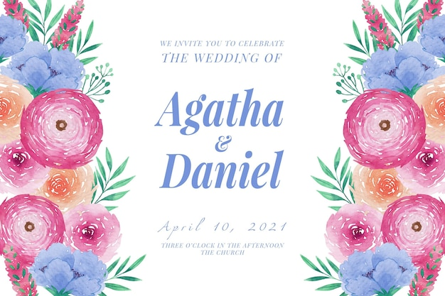 Bruiloft uitnodiging sjabloon aquarel pioenrozen Gratis Vector