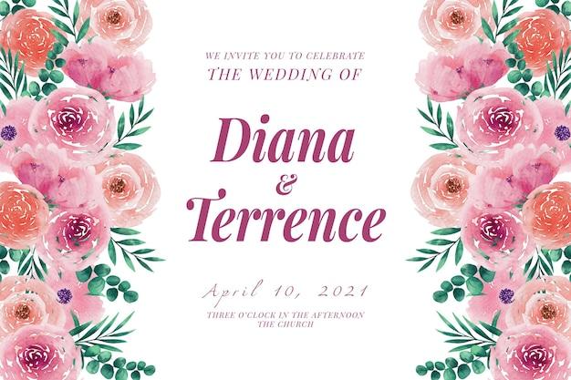 Bruiloft uitnodiging sjabloon bloemen en bladeren Gratis Vector