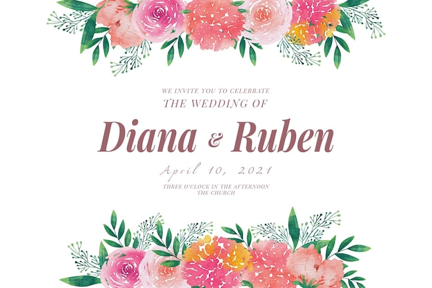 Bruiloft uitnodiging sjabloon floral frames Gratis Vector