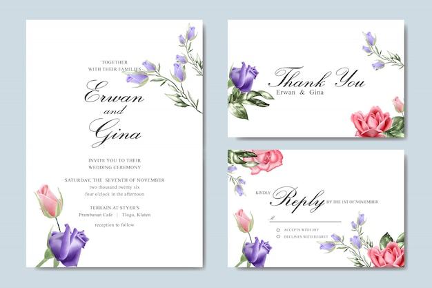Bruiloft uitnodiging sjabloon kaart met aquarel bloemen Premium Vector