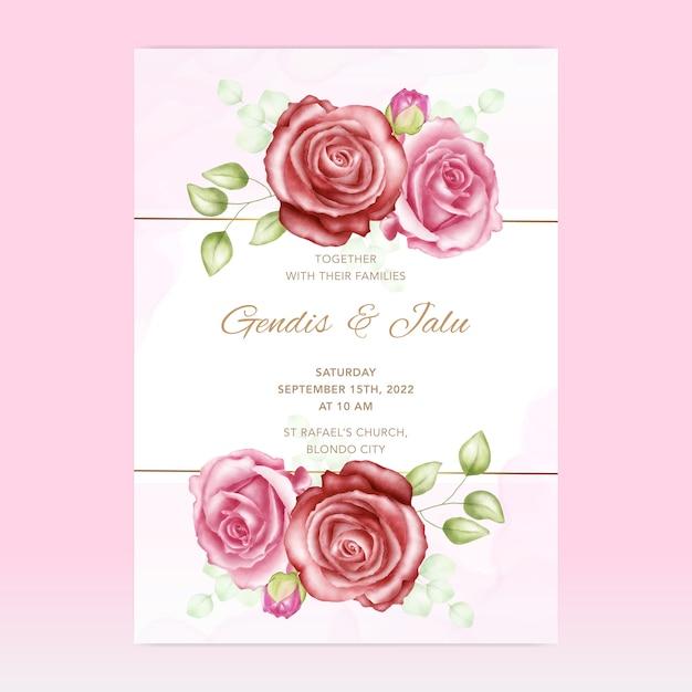 Bruiloft uitnodiging sjabloon kaart met bloemen Premium Vector