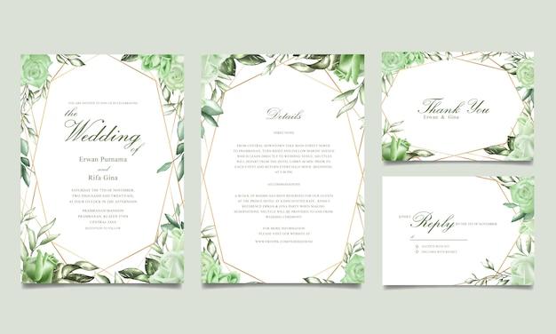 Bruiloft uitnodiging sjabloon kaart ontwerp met aquarel bloemen Premium Vector
