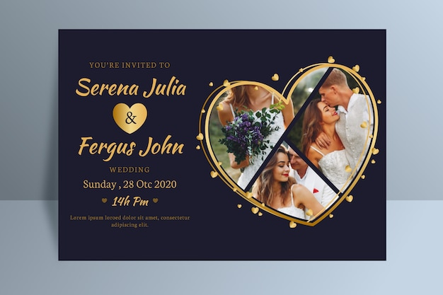 Bruiloft uitnodiging sjabloon met afbeelding Gratis Vector
