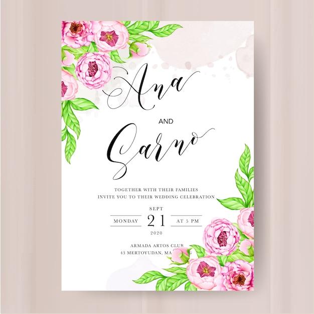 Bruiloft uitnodiging sjabloon met aquarel peony bloemen Premium Vector