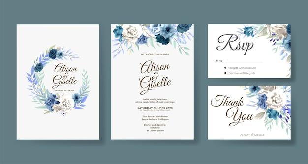 Bruiloft uitnodiging sjabloon met blauw roze bloem set Premium Vector