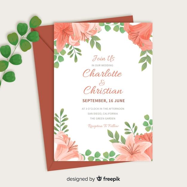 Bruiloft uitnodiging sjabloon met bloemen elementen Gratis Vector