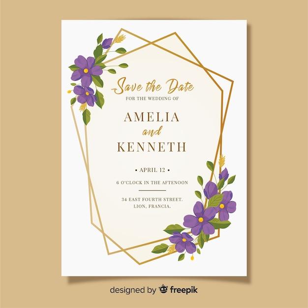 Bruiloft uitnodiging sjabloon met bloemen frame Gratis Vector