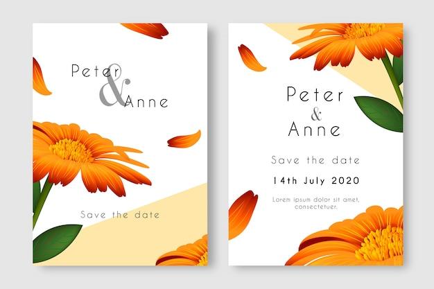 Bruiloft uitnodiging sjabloon met een grote bloem Gratis Vector