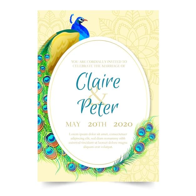 Bruiloft uitnodiging sjabloon met een pauw Gratis Vector