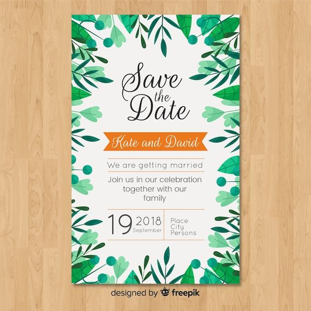 Bruiloft uitnodiging sjabloon met elegante bladeren Gratis Vector