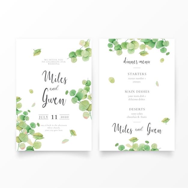 Bruiloft uitnodiging sjabloon met eucalyptus bladeren & menu Gratis Vector