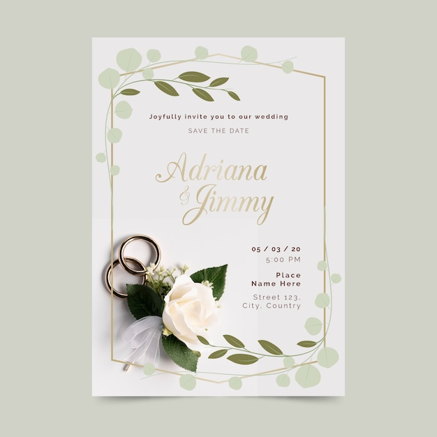 Bruiloft uitnodiging sjabloon met foto Gratis Vector
