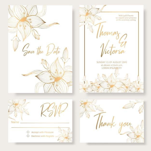 Bruiloft uitnodiging sjabloon met gouden decoratieve elementen. Premium Vector