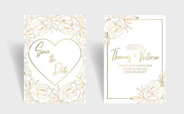 Bruiloft uitnodiging sjabloon met gouden decoratieve elementen Premium Vector