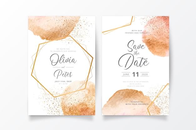 Bruiloft uitnodiging sjabloon met gouden spatten Gratis Vector